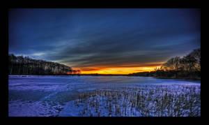 Frozen Lake - Sunset HDR