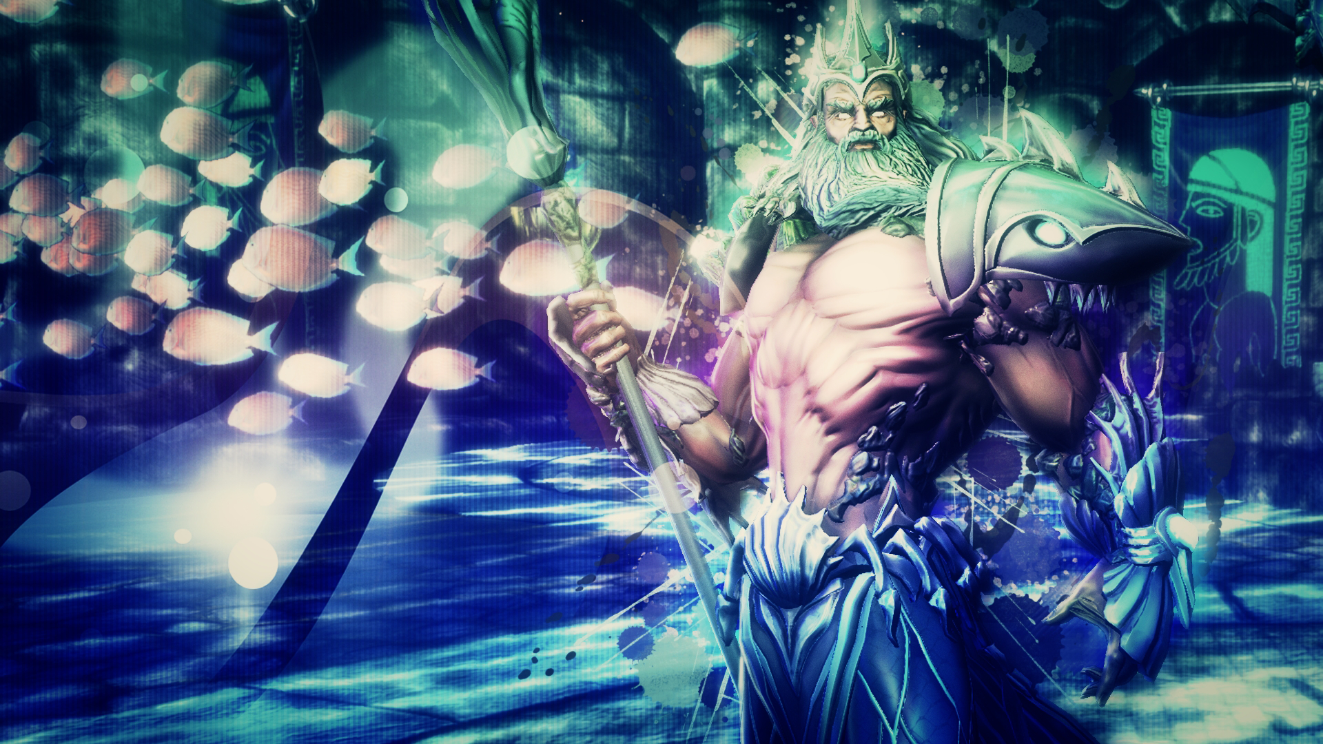 poseidon god of the oceans smite wallpaper by getsukeii on