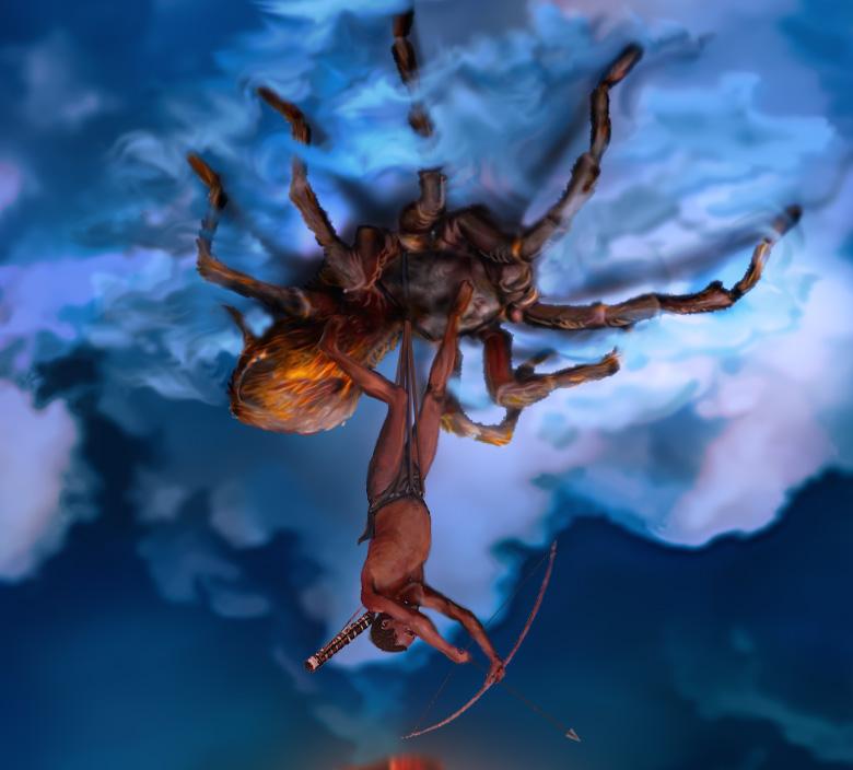 Bushman riding Spider fertile clouds detail 3 by djimme