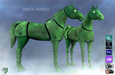 Green Horses by ZICIONEL