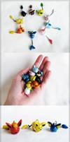 Chubby Eevee and Eeveelution keychains [FOR SALE] by alocinn