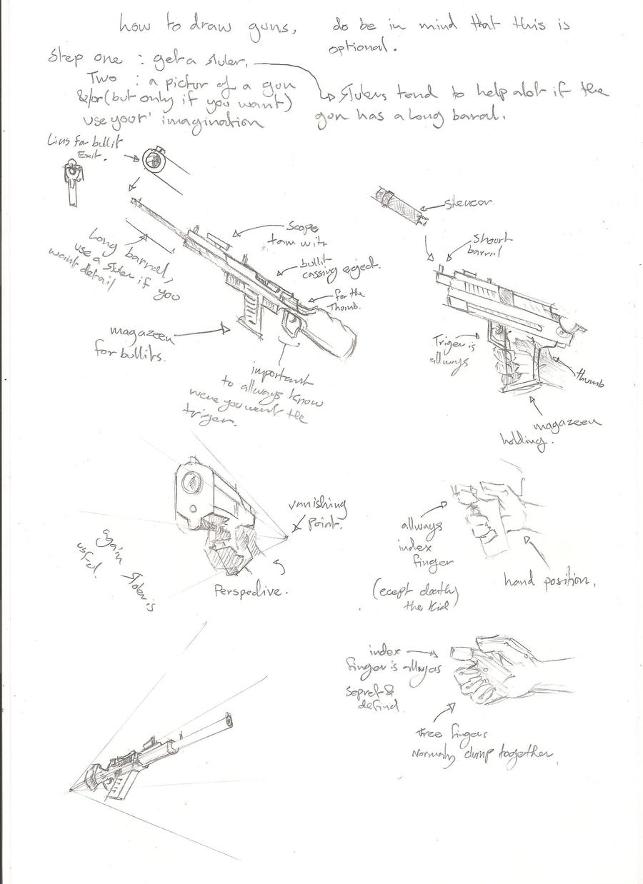 How To Draw A Gun By Yinai185