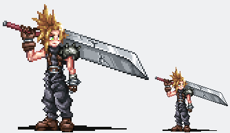 FF7 - Cloud Strife sprite by Mochito