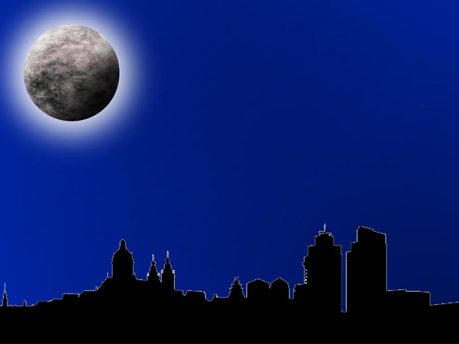 Moon with city shadow by viktoria lyn on deviantart