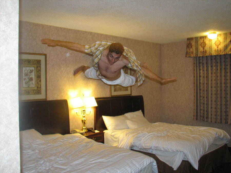 Flying in the hotel room by e11world