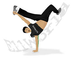 Vector Bboy breakdance freeze by e11world