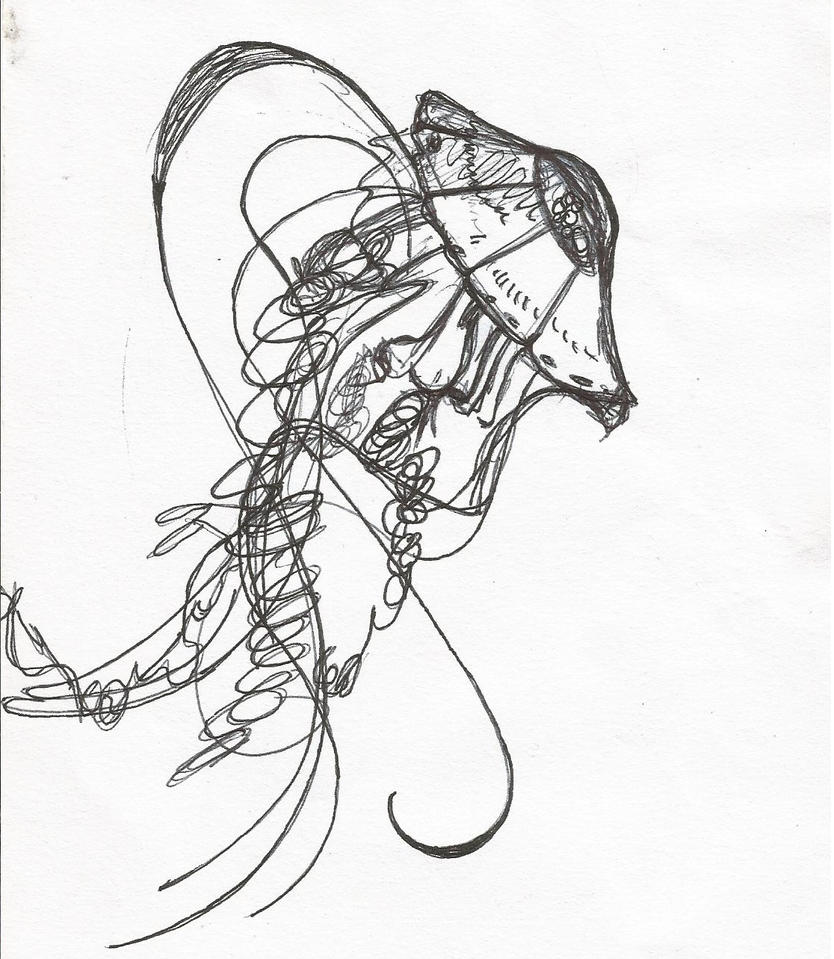 Line Drawing Jellyfish : Jellyfish pen drawing by navyvelveteen on deviantart