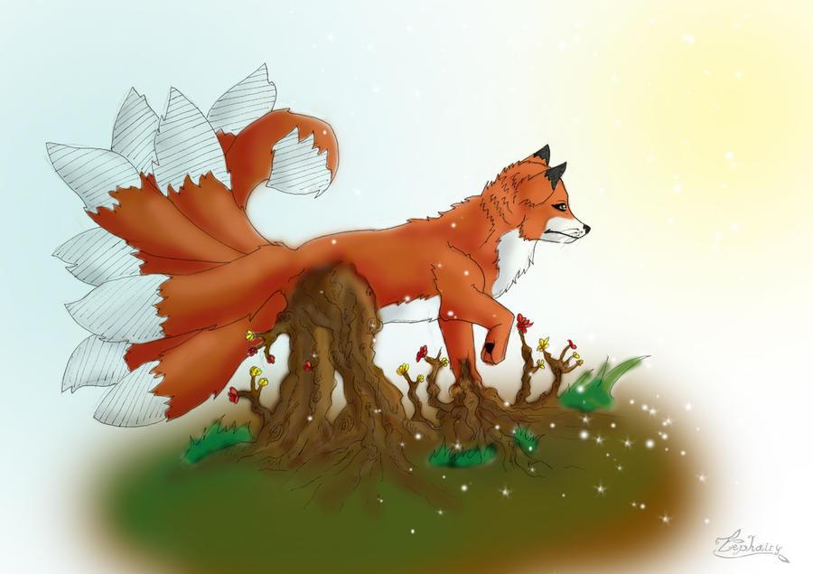 Free sketch - Nine tailed fox by Zephairy