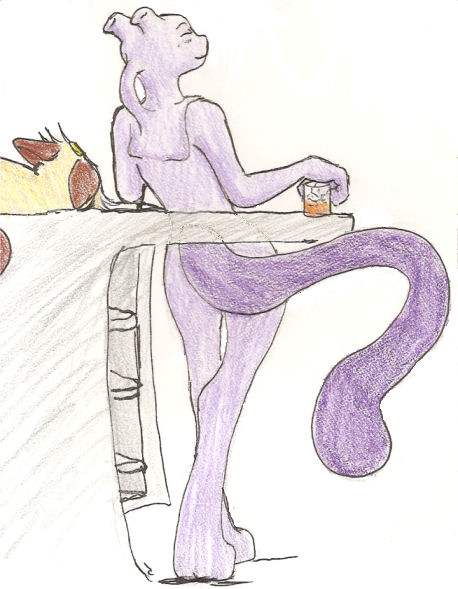 Mewtwo likes to relax too by DarkKitsunegirl