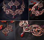 Necklace and earrings Enchantment of passion