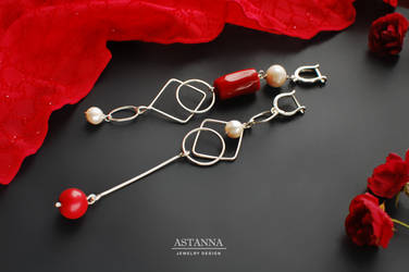 Red white silver earrings Asymmetric long dangle by AstannaJewelry