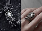 Fantasy adjustable pearl chunky silver ring