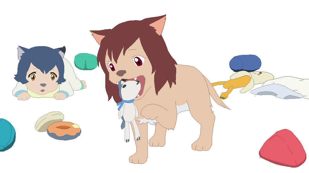 wolf children ame and Yuki base 8 by SammyHell