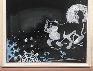 Chalkboard Art - Winter Husky