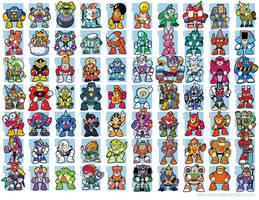 Mega Man bosses, 1-8 by jjmccullough
