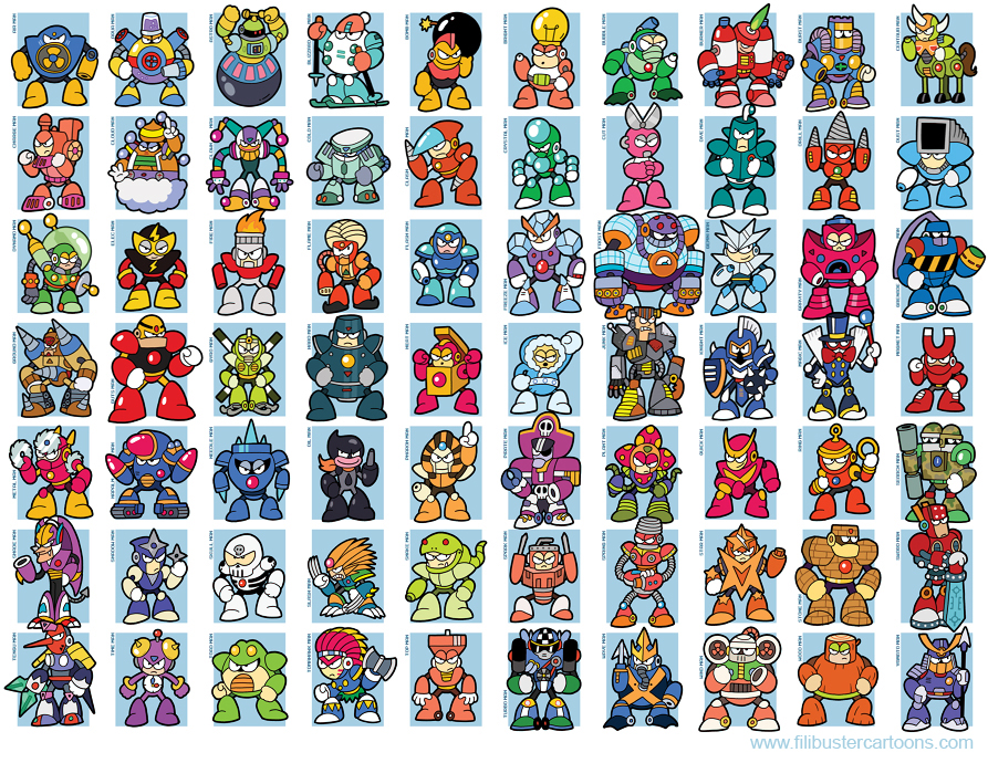 Mega Man bosses, 1-8 by jjmccullough