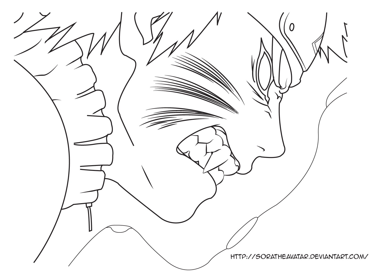 Naruto Lineart : Kyuubi naruto line art by soratheavatar on deviantart