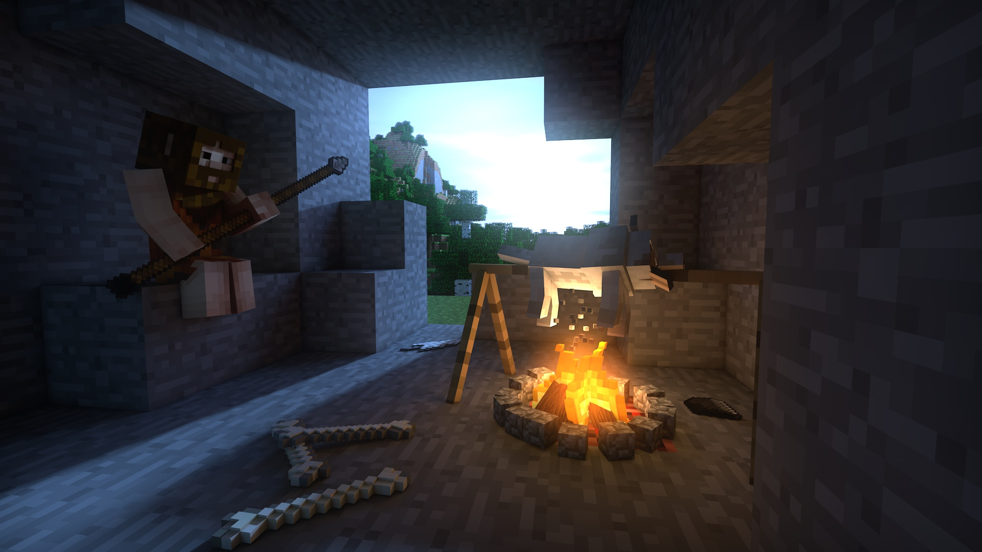 Amazing Wallpaper Minecraft Art - wallpaper_minecraft_3d___the_prehistory_by_thefennixcreations-d7tixak  You Should Have_227367.jpg