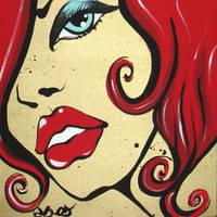 Portrait pop rouge et or