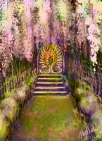 Temple Approach through Wisteria by StrawberriPaopuJuice