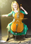 Caricatura violoncellista Irene Rouco