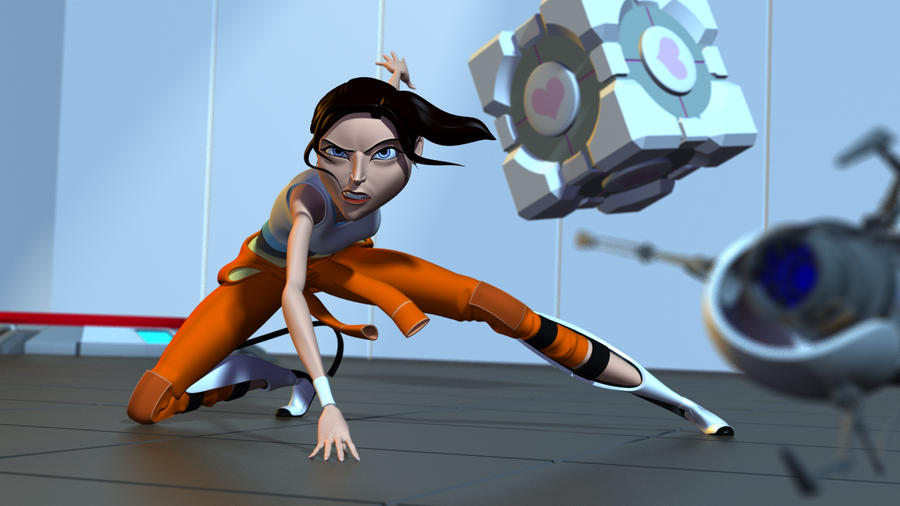 Portal Short Chell Test Render by alexzemke