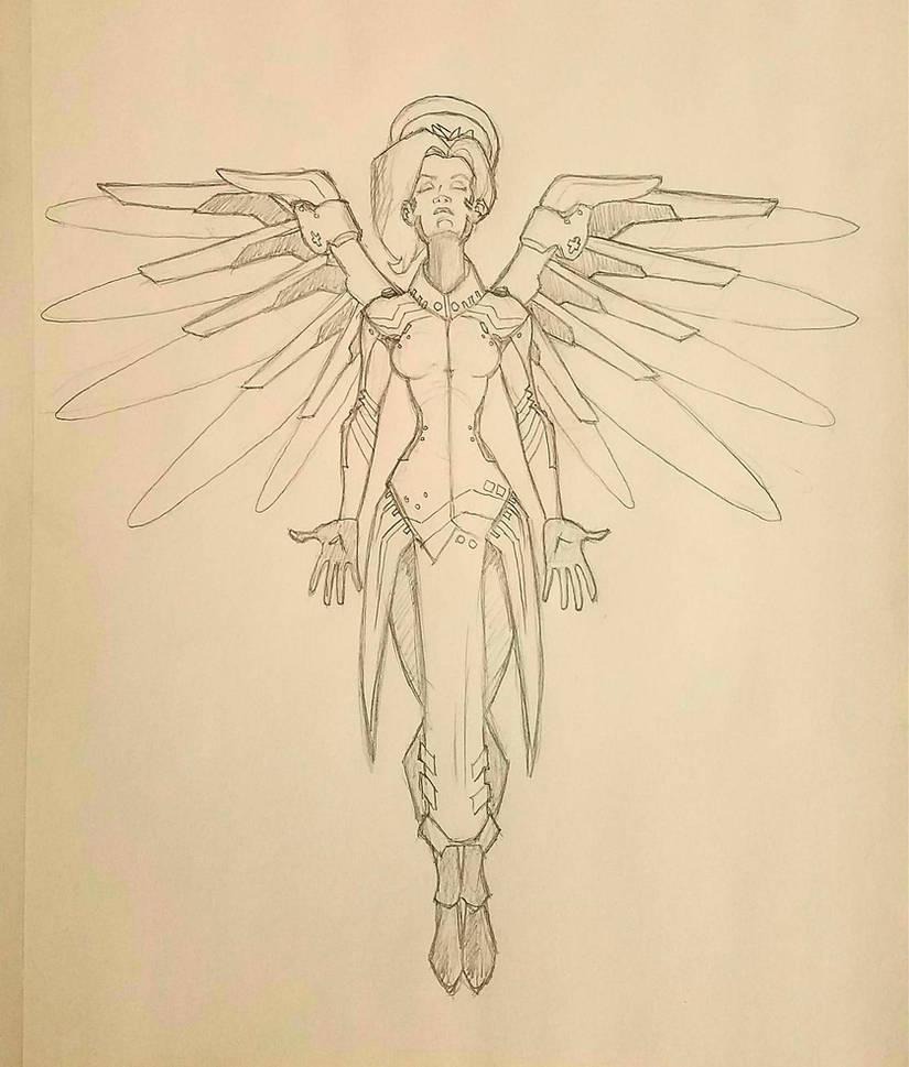 Overwatch Mercy Sketch by alexzemke