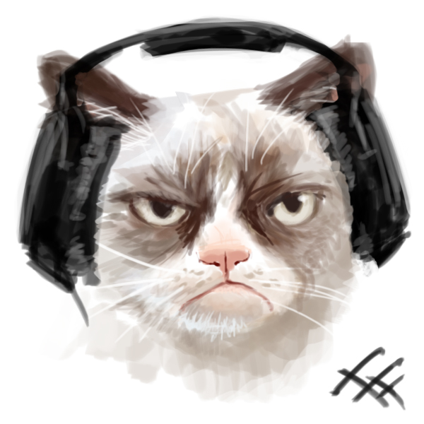 Grumpy Headphones by FallFox