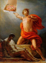 Prometheus carrying blesses to humanity