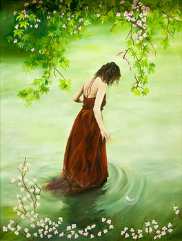 Lady in the greenlake
