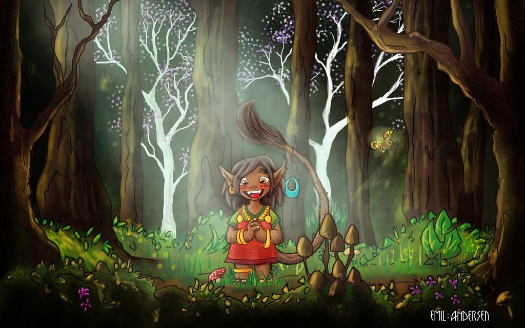 Troll girl in the deep woods by emilsa