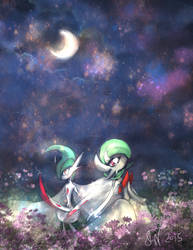 Midnight Romance (Mega Gardevoir x Gallade) by Friggin-Artwork