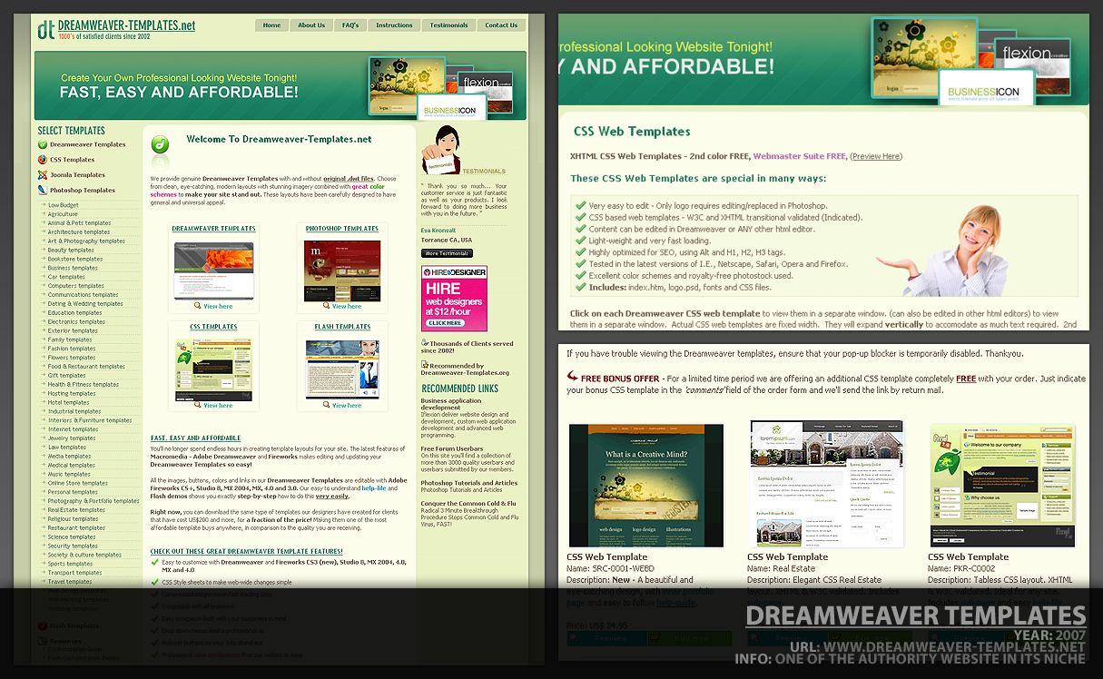 All categories guildmixe for Dreamweaver layout templates