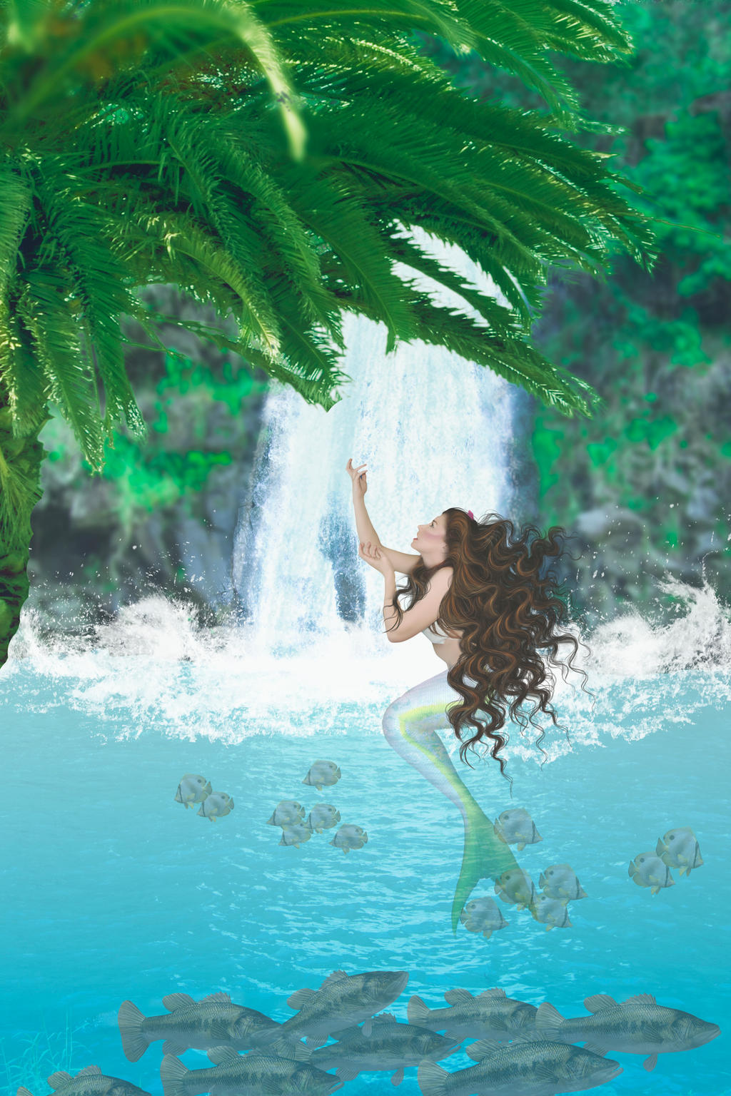 Mermaid at the Waterfall by marphilhearts