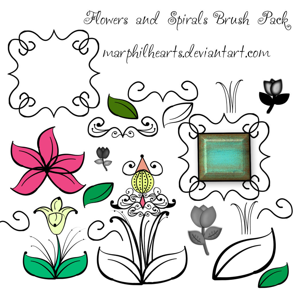FREE Flowers and Spirals Photoshop Brush Pack