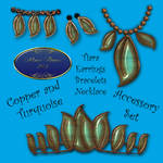 Turquoise and Copper Leaf Accessories
