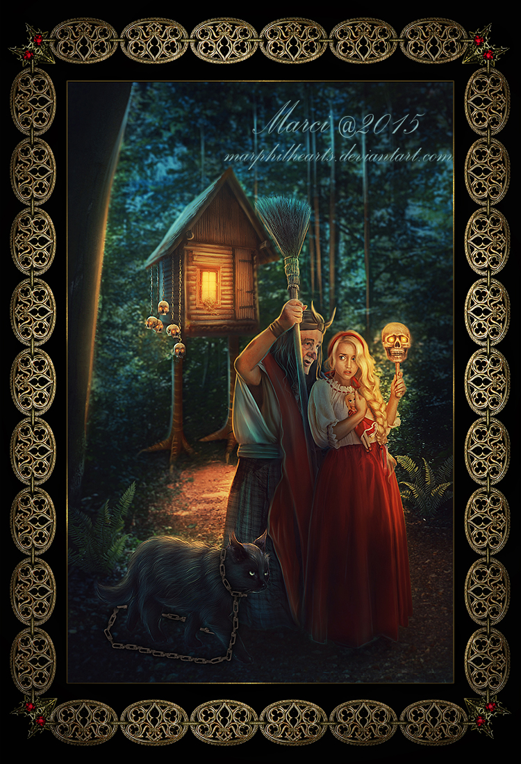 Baba-Yaga and Vasilisa the Beautiful by marphilhearts