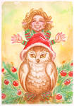 Christmas pixie and owl
