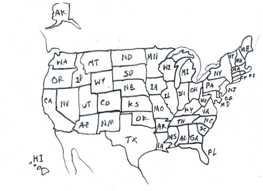 Hand Drawn Us Map.Drawing Of Usa Map