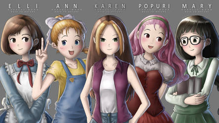 Harvest Moon Girls - Fan Art by Kelsa20