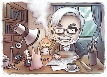 Hayao Miyazaki by Kelsa20