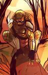 Predator crouching w/ background COLORS
