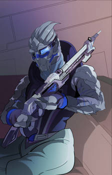 Garrus with a new rifle (COMMISSION)