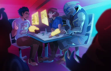 Liam, Shepard and Garrus in a bar~~ (COMMISSION)