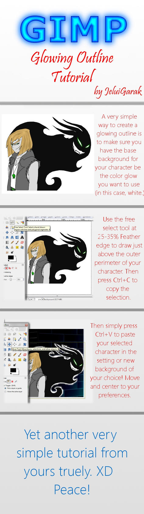 GIMP Tutorial: Glowing Outline by BeJuled