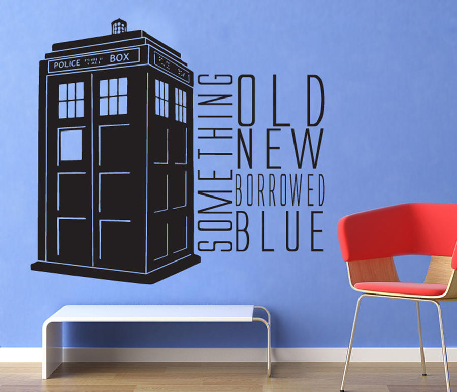 dr who something blue tardis wall decal by geekerymade on deviantart. Black Bedroom Furniture Sets. Home Design Ideas