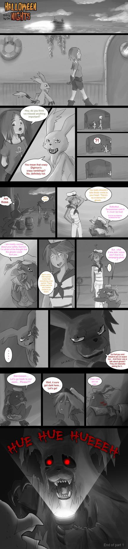 Halloween Nights comic pt 1 by Qvi