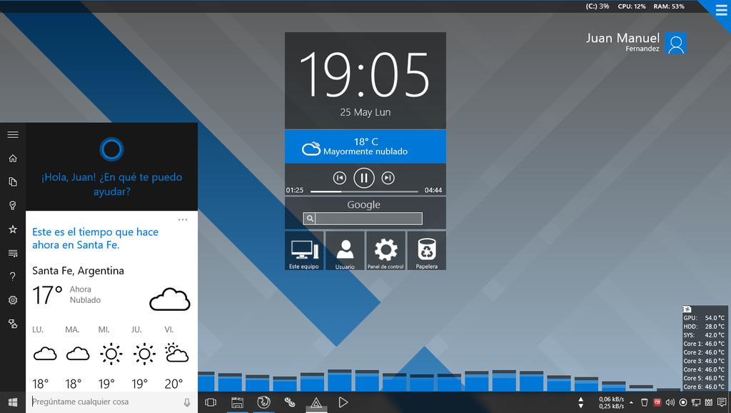 Group of Windows 10 Rainmeter Screenshot