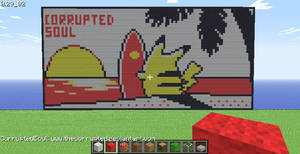Minecraft Pikachu on the beach