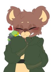 A smol bear and his smol fuzzy worm by OctiPocki